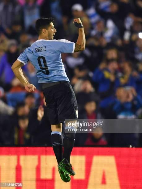 Uruguay's Luis Suarez celebrates after scoring against Panama during their international friendly football match at Centenario Stadium in Montevideo...
