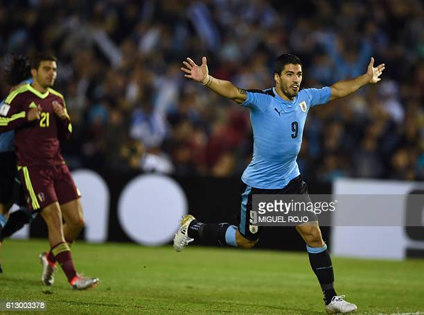 Uruguay's Luis Suarez celebrates the second goal of the team against Venezuela during their Russia 2018 World Cup qualifier football match in...