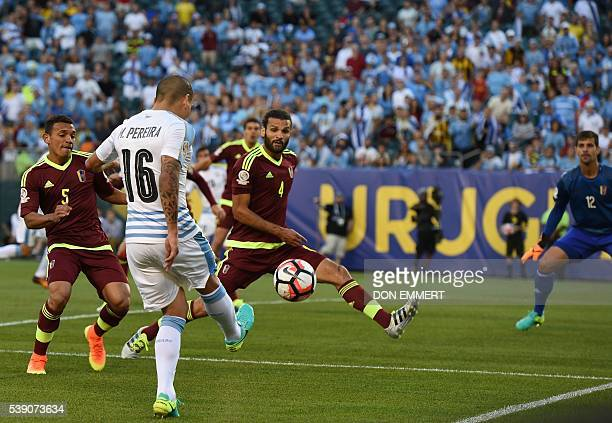 Uruguay's Maximiliano Pereira passes the ball during the Copa America Centenario football tournament match against Venezuela in Philadelphia...