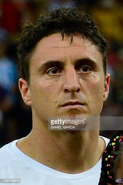 Uruguay's midfielder Cristian Rodriguez listens to the national anthems before the start of the FIFA Confederations Cup Brazil 2013 Group B football...