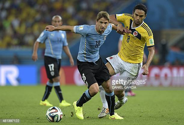 Uruguay's midfielder Gaston Ramirez and Colombia's midfielder Abel Aguilar vies for the ball during the Round of 16 football match between Colombia...