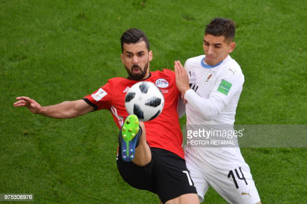 Uruguay's midfielder Lucas Torreira and Egypt's midfielder Abdallah Said go for the ball during the Russia 2018 World Cup Group A football match...