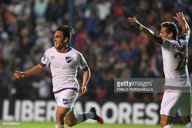Uruguay's Nacional midfielder Paulo Zunino celebrates his goal against Argentina's Banfield during their Copa Libertadores 2018 3rd stage second leg...