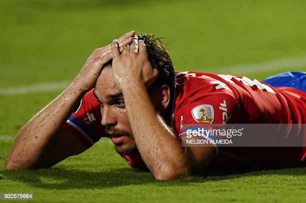 Uruguay's Nacional team player Matias Zunino reacts during the 2018 Copa Libertadores football match against Brazil's Santos held at Pacaembu stadium...