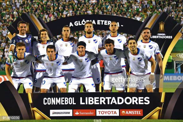 Uruguay's Nacional team pose for pictures during their Copa Libertadores 2018 football match against Brazil's Chapecoense at Arena Conda stadium in...