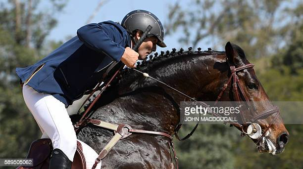 Uruguay's Nestor Nielsen van Hoff on Prince Royal Z de la Luz competes during the Equestrian's Show Jumping first qualifier event of the 2016 Rio...