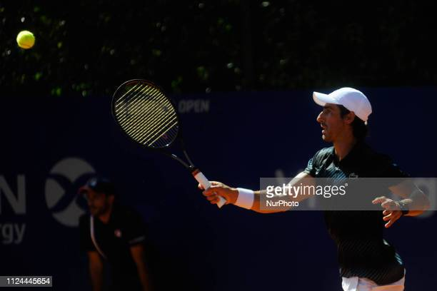 Uruguay´s Pablo Cuevas in action during tennis Argentina Open ATP match agaist Marcelo Arevalo of Spain on February 12, 2019 in Buenos Aires,...