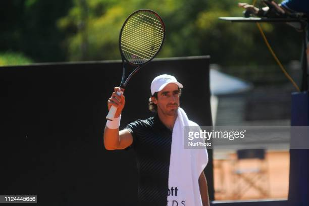 Uruguay´s Pablo Cuevas reacts during tennis Argentina Open ATP match agaist Marcelo Arevalo of Spain on February 12, 2019 in Buenos Aires, Argentina.