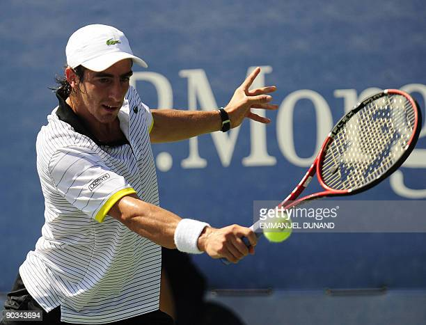 Uruguay's Pablo Cuevas returns a point to Austrian player Daniel Koellerer during day five of the 2009 US Open at the USTA Billie Jean King National...