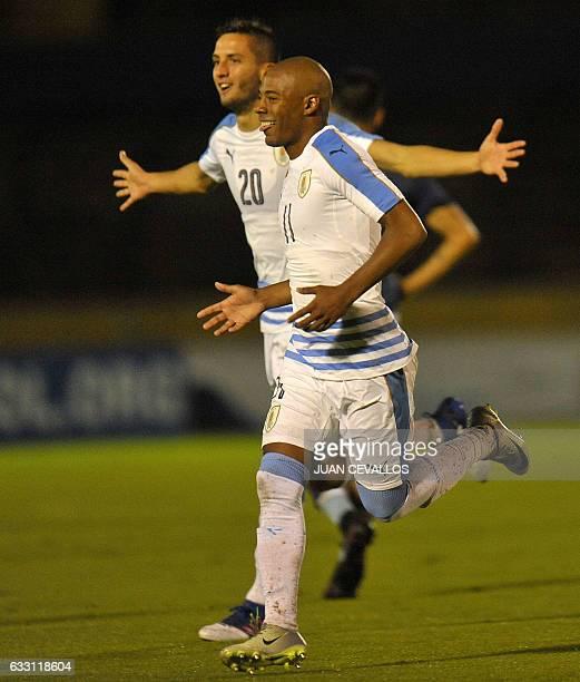 Uruguay's player Nicolas De La Cruz celebrates a goal against Argentina during their South American Championship U20 football match at the Olimpico...