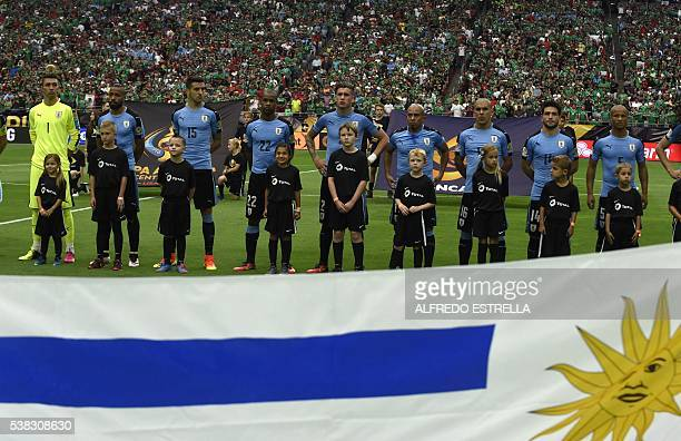 Uruguay's players are pictured before the start of the Copa America Centenario football tournament match against Mexico in Glendale Arizona United...