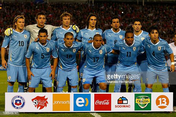 Uruguay's players pose for a photograph before their FIFA friendly match against Chile at National Stadium on Nov 17 2010 in Santiago Chile
