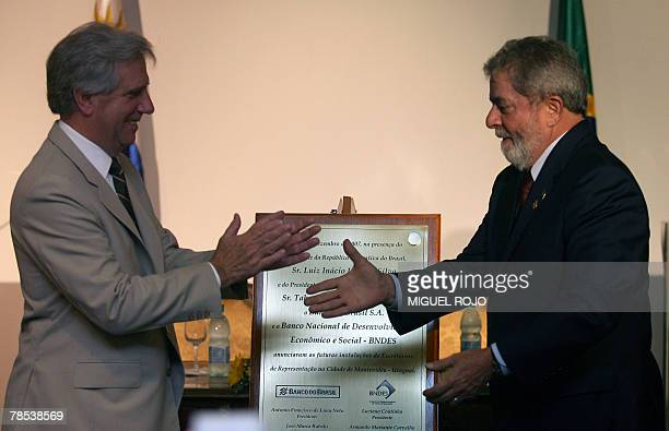 Uruguay's president Tabare Vazquez and Brazil's Luiz Inacio Lula Da Silva during the inauguration of the Banco do Brasil and the Banco Nacional de...