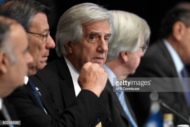 Uruguay's President Tabare Vazquez and his Foreign Minister Rodolfo Nin are seen upon their arrival to attend the plenary session of the Mercosur...