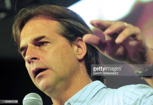 Uruguay's presidential candidate for the opposition Partido Nacional party Luis Lacalle Pou speaks during the closing rally of his campaign ahead of...