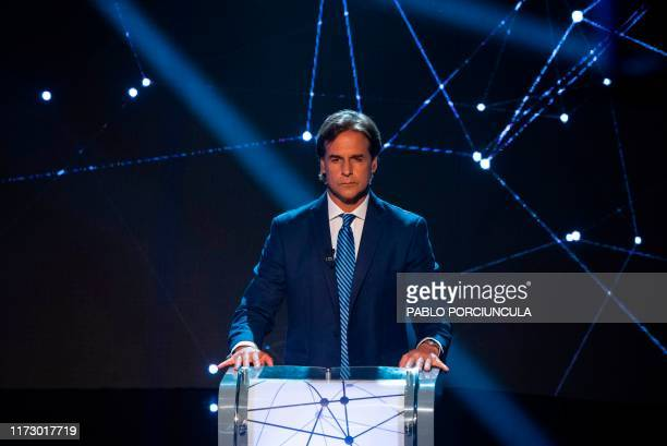 Uruguay's presidential candidate Luis Lacalle Pou of the Nacional party takes part in a televised debate in Montevideo on October 1st ahead of the...