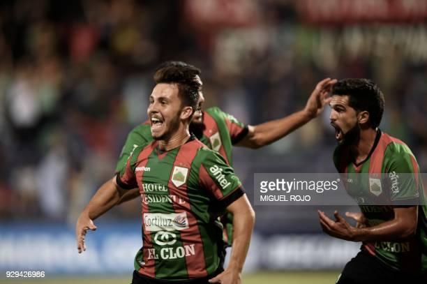Uruguay's Rampla player Igor Paim celebrates a goal against Peru's Cajamarca during their Copa Sudamericana football match at the Luis Franzini...