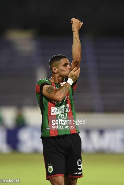 Uruguay's Rampla player Matias Rigoleto celebrates after scoring a goal against Peru's Cajamarca during their Copa Sudamericana football match at the...