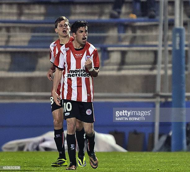 Uruguay's River Plate's player Michael Santos celebrates his goal against Chilean Universidad Catolica during their Copa Sudamericana football match...
