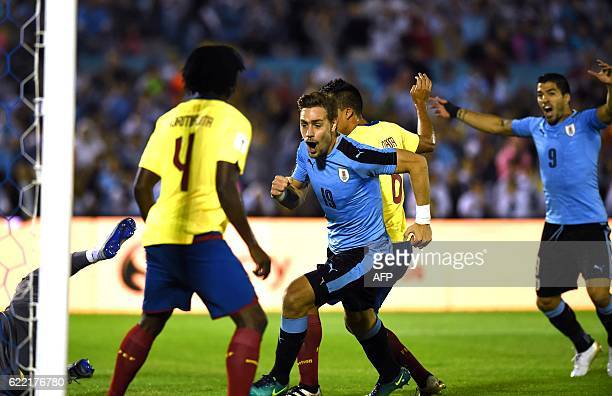 Uruguay's Sebastian Coates celebrates after scoring against Ecuador during their 2018 FIFA World Cup qualifier football match in Montevideo, on...