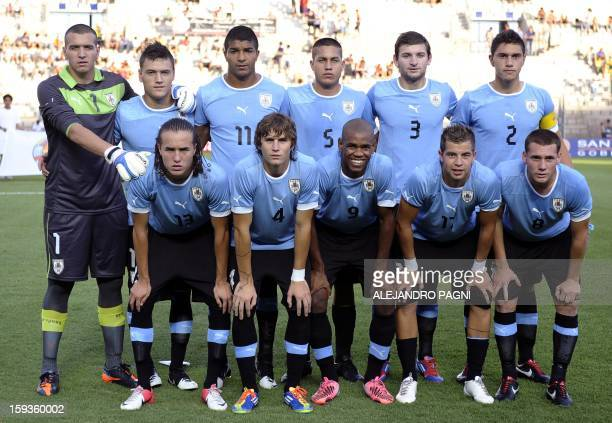 Uruguay's U20 football team poses for a picture before their South American U-20 Championship Group B football match against Brazil, at Bicentenario...