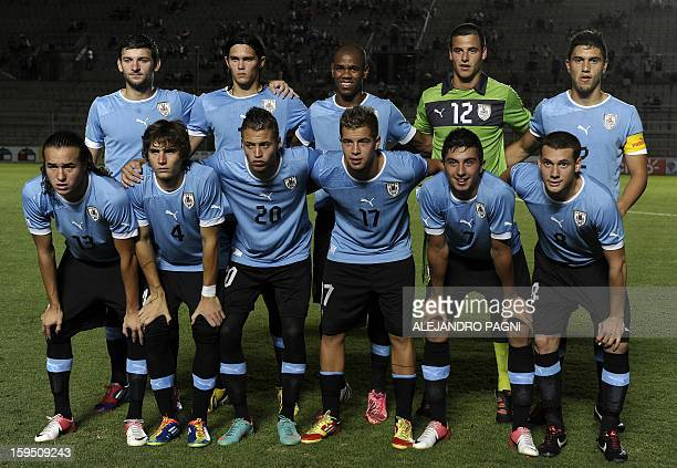 Uruguay's U20 football team poses for a picture before their South American U-20 Championship Group B qualifier football match against Ecuador, at...