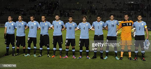 Uruguay's U20 football team sing the national anthem before their South American U20 Championship Group B football match against Peru at Bicentenario...
