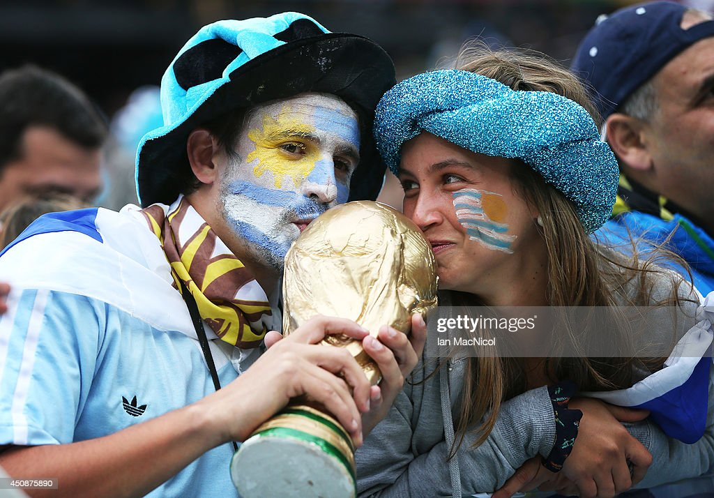 Uruguyan fans during the Group D match of the 2014 World Cup between England and Uruguay at the Arena de Sao Paulo on June 19, 2014 in Sao Paulo, Brazil.