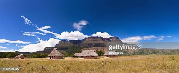 Nativo Indian hut village at Uruyen Auyantepuy Venezuela