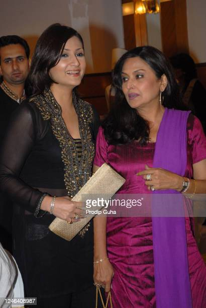 July 29: Urvashi Dholakia and Anju Mahendru attend Anup Jalota's Birthday Celebration on July 29, 2008 in Mumbai, India.