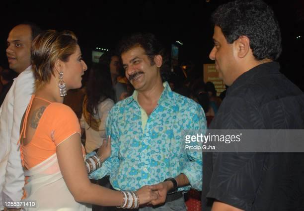 Urvashi Dholakia, Jamnadas Majethia and Ronnie Screwvala attend The Indian Television Awards on November 16, 2007 in Mumbai, India.