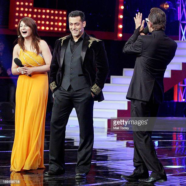 Urvashi Dholakia winner of a Bigg Boss 6 with Salman Khan and Imam Siddique during Grand Finale in Mumbai.