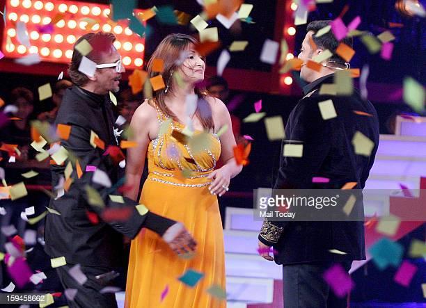 Urvashi Dholakia winner of a Bigg Boss 6 with Salman Khan during Grand Finale in Mumbai.