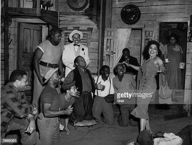 American operatic soprano Leontyne Price American jazz singer Cab Calloway and William Warfield in the London production of Gershwin's opera Porgy...