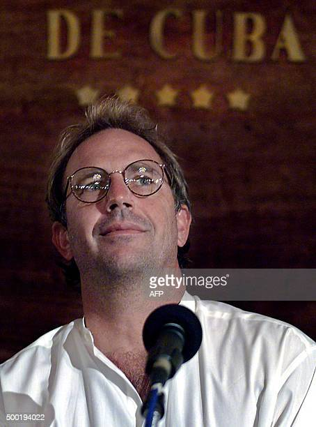 Us actordirector Kevin Costner answers questions during a press conference 11 April 2001 in Havana Costner and Cuban President Fidel Castro have...