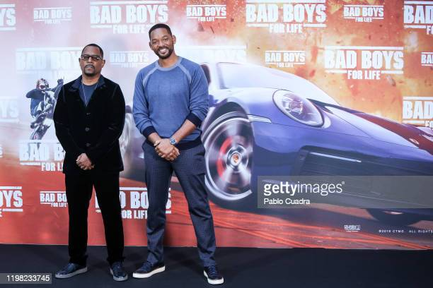 Us actors Martin Lawrence and Will Smith attend 'Bad Boys For Life' photocall at Villa Magna hotel on January 08, 2020 in Madrid, Spain.