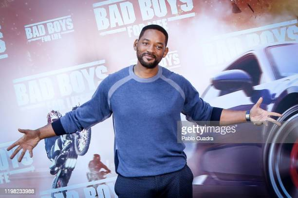 Us actors Martin Will Smith attends 'Bad Boys For Life' photocall at Villa Magna hotel on January 08, 2020 in Madrid, Spain.