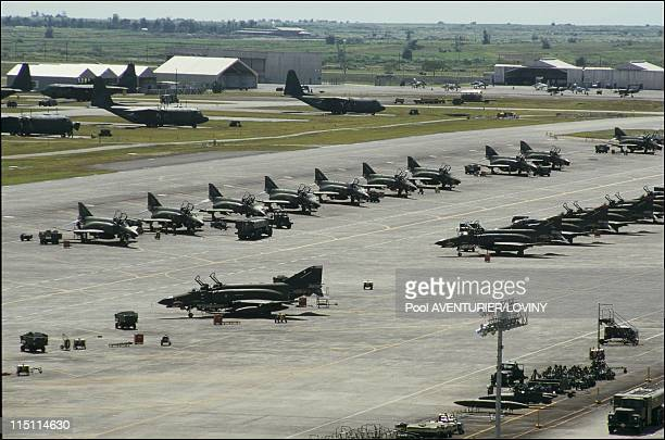 Us Airforce base of Clarks evacuated after the Pinatubo eruption in Philippines on August 05 1991 Air field before eruption with F4 fighters
