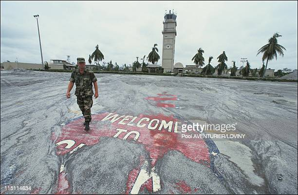 Us Airforce base of Clarks evacuated after the Pinatubo eruption in Philippines on August 05 1991 Welcome sign covered by ashes