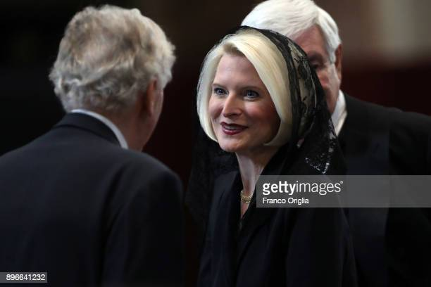 Us ambassador Callista Gingrich and her husband Newt Gingrich attend the funeral for disgraced US Cardinal Bernard Law former Archbishop of Boston at...
