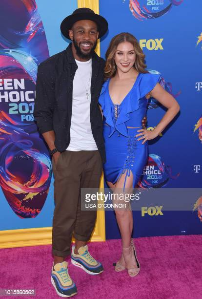 Us dancer Allison Holker and US DJ Stephen 'tWitch' Boss attends the Teen Choice Awards 2018 in Los Angeles California on August 12 2018