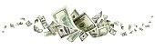Us dollar bill. Washington american cash. Falling usd money back