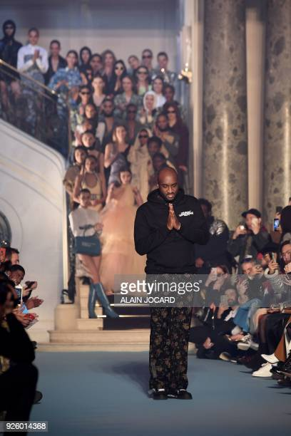 Us fashion designer Virgil Abloh for OffWhite acknowledges the audience at the end of the OffWhite's 2018/2019 fall/winter collection fashion show on...