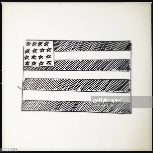 us flag hand drawn