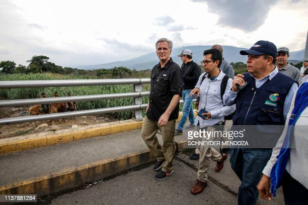 Us House Minority Leader Kevin McCarthy walks over the Simon Bolivar International Bridge in Cucuta Colombia in the border with Venezuela on April 18...