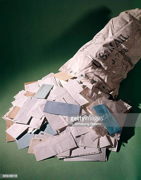 Us Mail Bag With Posted Envelopes Overflowing