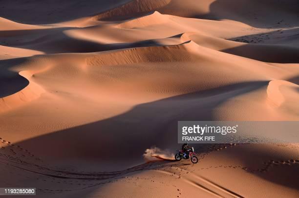 Us' motorbike rider Ricky Brabec drives his Honda as he competes in the Stage 7 of the Dakar 2020 between Riyadh and Wadi Al Dawasir, Saudi Arabia,...