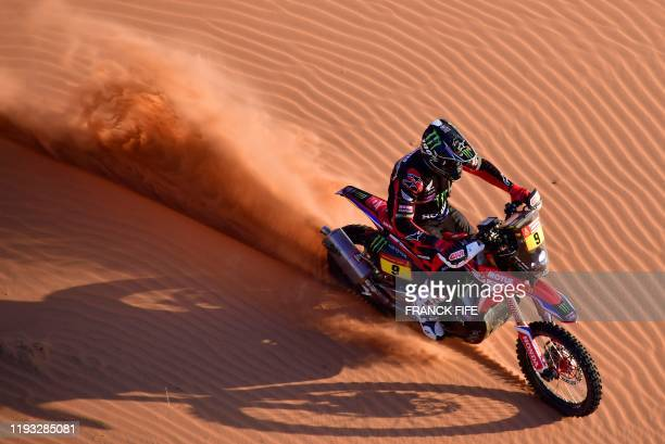 Us' motorbike rider Ricky Brabec drives his Honda as he competes in the Stage 7 of the Dakar 2020 between Riyadh and Wadi Al Dawasir Saudi Arabia on...