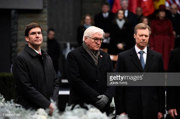 Us Secretary of Defense Mark Esper German Federal President FrankWalter Steinmeier Grand Duke Henri of Luxembourg attend a ceremony as part of the...