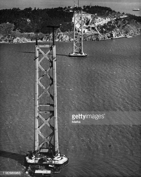 Usa, california, san francisco, construction of the second suspension bridge bay bridge, 1935.